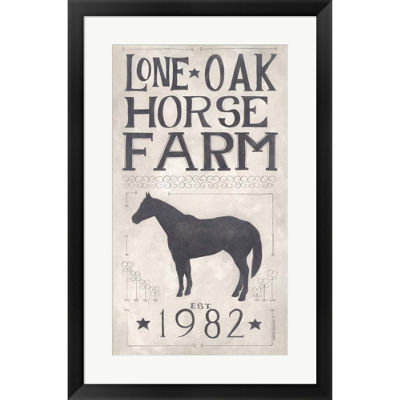 Metaverse Art Lone Oak Horse Farm Framed Print Wall Art
