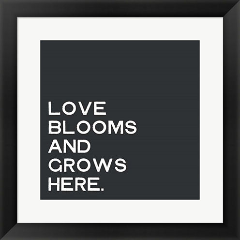 Love Blooms And Grows Framed Print Wall Art