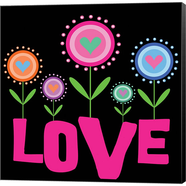 Metaverse Art Love Flowers Gallery Wrapped CanvasWall Art