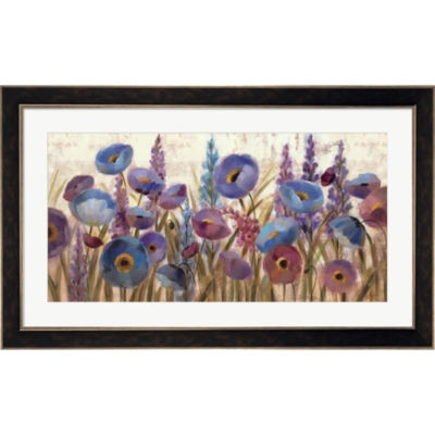 Metaverse Art Lupines And Poppies Framed Print Wall Art