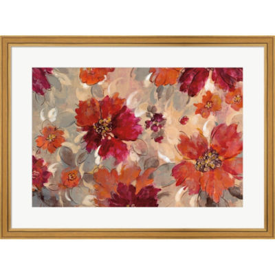 Metaverse Art Magenta And Coral Floral Framed Print Wall Art