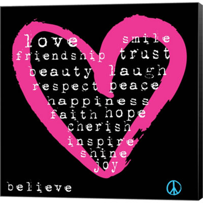 Metaverse Art Love Words Gallery Wrapped Canvas Wall Art