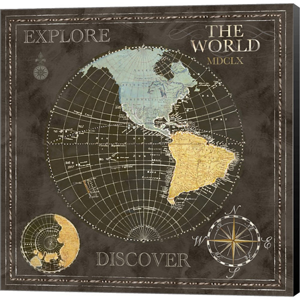 Metaverse Art Old World Journey Map I Gallery Wrapped Canvas Wall Art