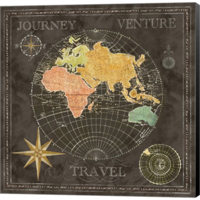 Metaverse Art Old World Journey Map II Gallery Wrapped Canvas Wall Art
