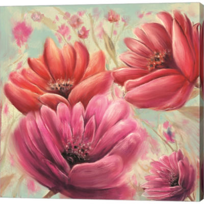 Metaverse Art Pink Poppy Bloom Gallery Wrapped Canvas Wall Art