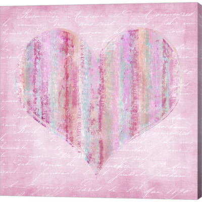 Metaverse Art Striped Pink Heart Gallery Wrapped Canvas Wall Art