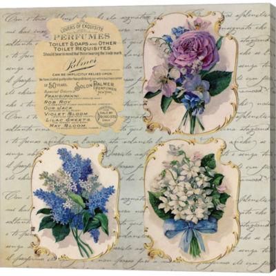 Metaverse Art Vintage Flower Labels Gallery Wrapped Canvas Wall Art
