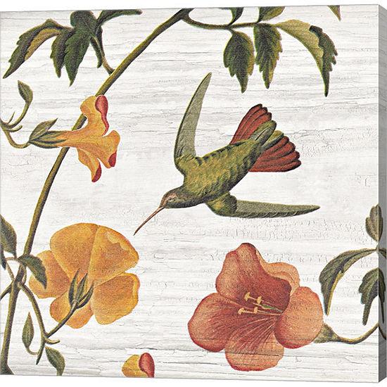 Metaverse Art Vintage Hummingbird I Gallery Wrapped Canvas Wall Art