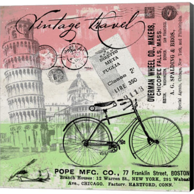 Metaverse Art Vintage Travel Italia I Flag GalleryWrapped Canvas Wall Art