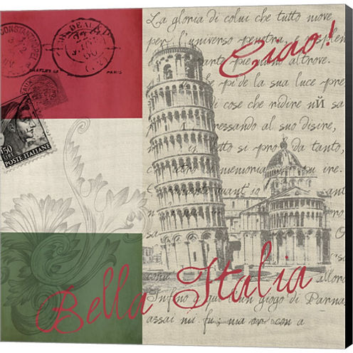Vintage Travel Italia II Gallery Wrapped Canvas Wall Art On Deep Stretch Bars