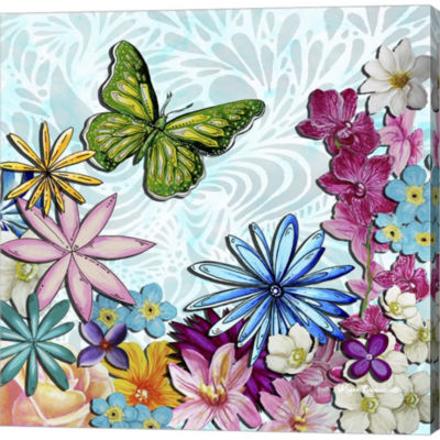 Metaverse Art Whimsical Floral Collage 3-2 GalleryWrapped Canvas Wall Art