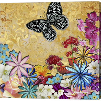 Metaverse Art Whimsical Floral Collage 4-2 GalleryWrapped Canvas Wall Art