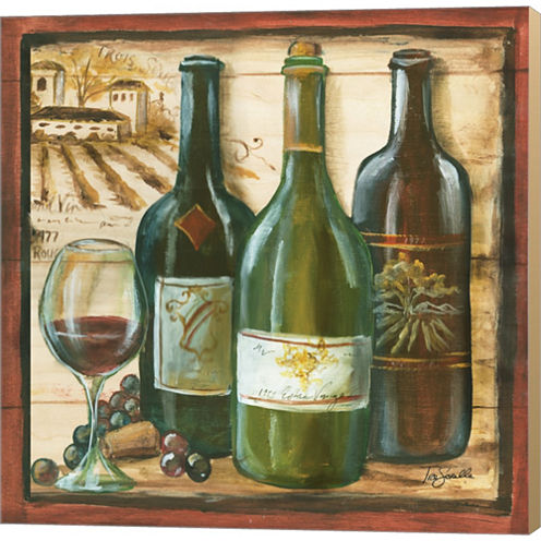Wooden Wine Square II Gallery Wrapped Canvas WallArt On Deep Stretch Bars