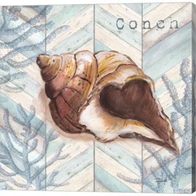 Metaverse Art Chevron Shell I Gallery Wrapped Canvas Wall Art
