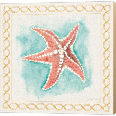 Metaverse Art Coastal Mist Starfish Gallery Wrapped Canvas WallArt On Deep Stretch Bars