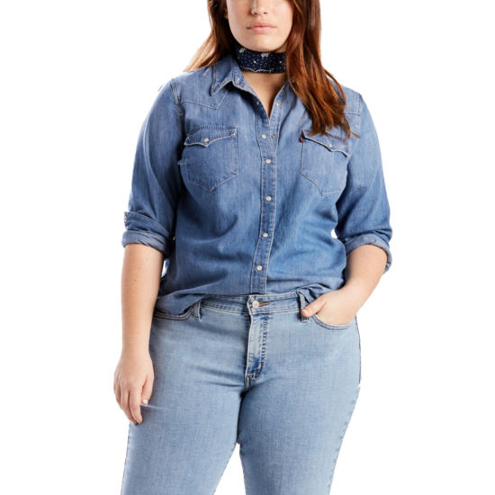 Levi's Classic Long Sleeve Chambray Western Shirt - Plus