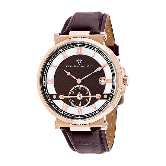 Christian Van Sant Mens Brown Leather Strap Watch-Cv1704