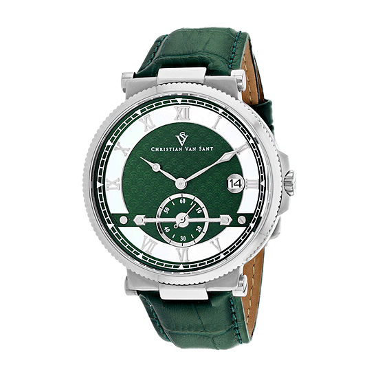 Christian Van Sant Mens Green Leather Strap Watch-Cv1701