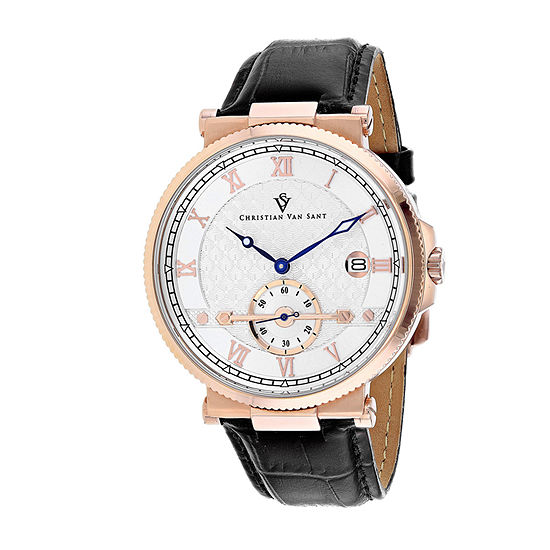 Christian Van Sant Mens Black Leather Strap Watch-Cv1703