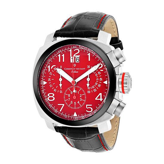 Christian Van Sant Mens Black Leather Strap Watch-Cv3au9