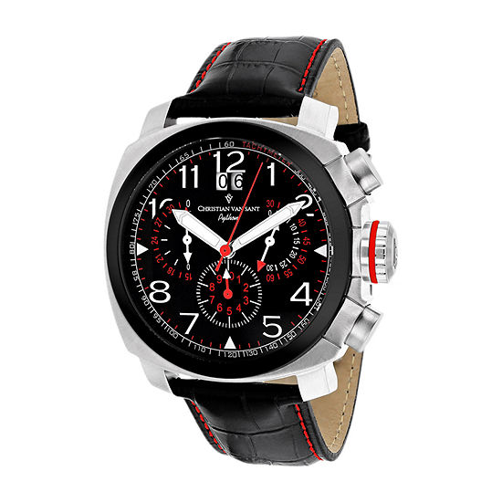Christian Van Sant Mens Black Leather Strap Watch-Cv3au1