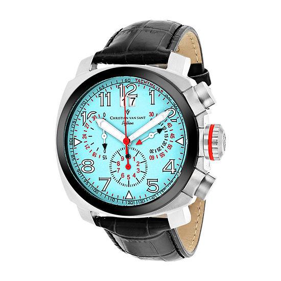 Christian Van Sant Mens Black Leather Strap Watch-Cv3au10