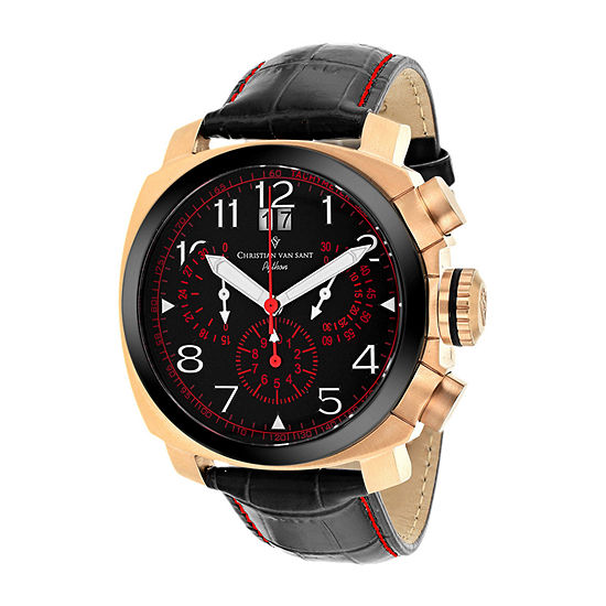 Christian Van Sant Mens Black Leather Strap Watch-Cv3au8