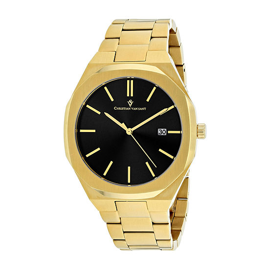 Christian Van Sant Mens Gold Tone Stainless Steel Bracelet Watch-Cv0527