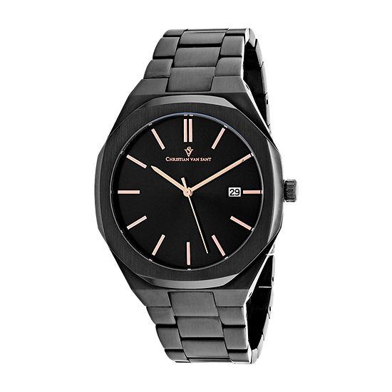 Christian Van Sant Mens Black Stainless Steel Bracelet Watch-Cv0525