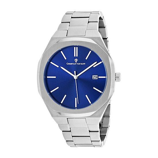 Christian Van Sant Mens Silver Tone Stainless Steel Bracelet Watch-Cv0522