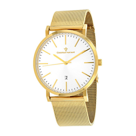 Christian Van Sant Mens Gold Tone Stainless Steel Bracelet Watch-Cv4325