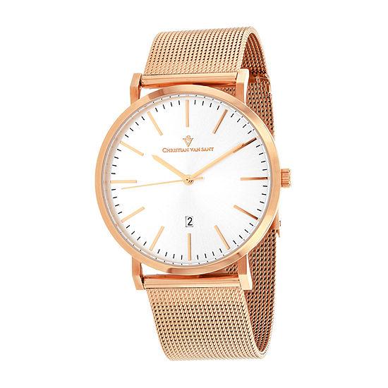 Christian Van Sant Mens Rose Goldtone Bracelet Watch-Cv4322