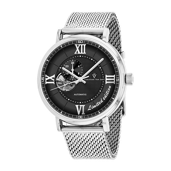 Christian Van Sant Mens Automatic Silver Tone Stainless Steel Bracelet Watch - Cv1142