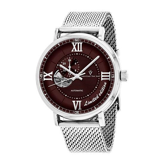 Christian Van Sant Mens Automatic Silver Tone Stainless Steel Bracelet Watch-Cv1143