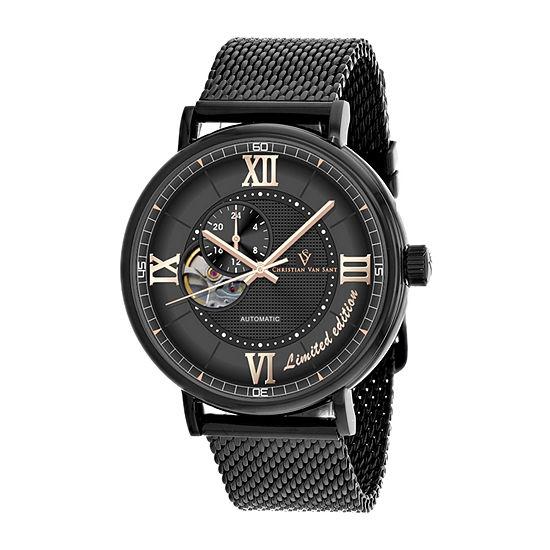 Christian Van Sant Mens Automatic Black Stainless Steel Bracelet Watch - Cv1144