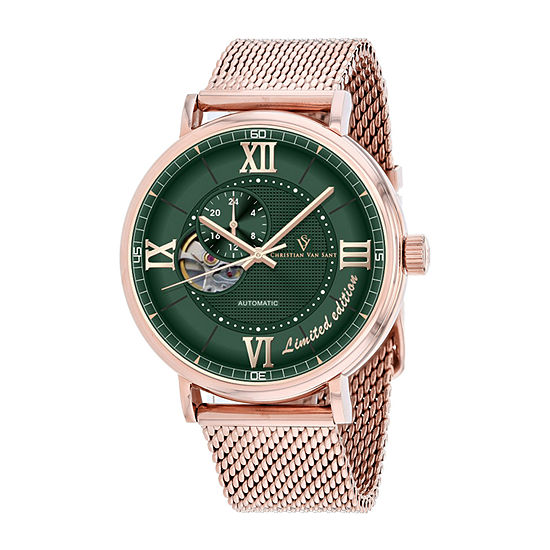 Christian Van Sant Mens Automatic Rose Goldtone Stainless Steel Bracelet Watch-Cv1148