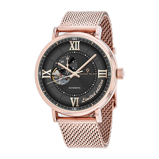 Christian Van Sant Mens Automatic Rose Goldtone Stainless Steel Bracelet Watch - Cv1146