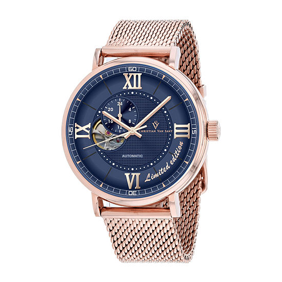 Christian Van Sant Mens Automatic Rose Goldtone Stainless Steel Bracelet Watch-Cv1147