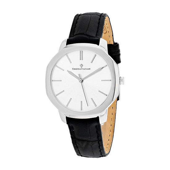 Christian Van Sant Womens Black Leather Strap Watch-Cv0501