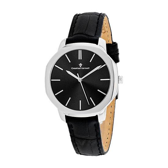 Christian Van Sant Womens Black Leather Strap Watch-Cv0500