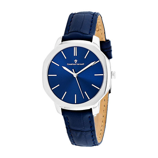 Christian Van Sant Womens Blue Leather Strap Watch-Cv0502