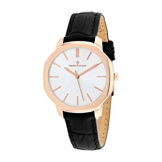 Christian Van Sant Womens Black Leather Strap Watch-Cv0503