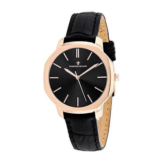 Christian Van Sant Womens Black Leather Strap Watch-Cv0504