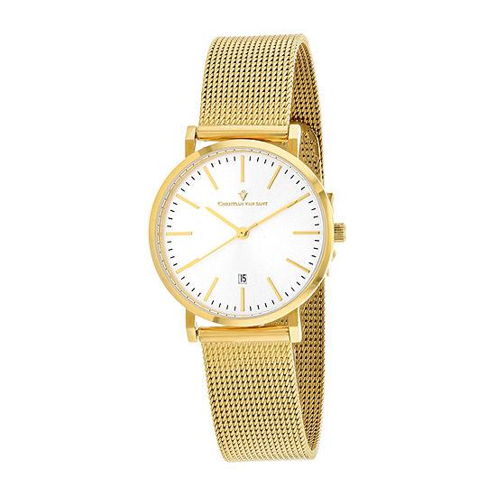 Christian Van Sant Womens Gold Tone Stainless Steel Bracelet Watch-Cv4225