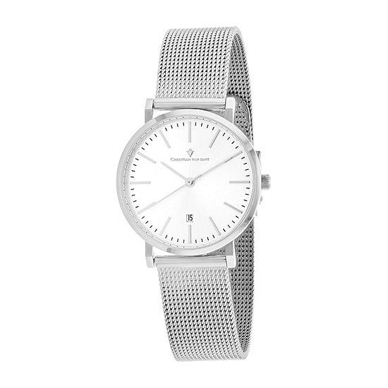 Christian Van Sant Womens Silver Tone Stainless Steel Bracelet Watch-Cv4223
