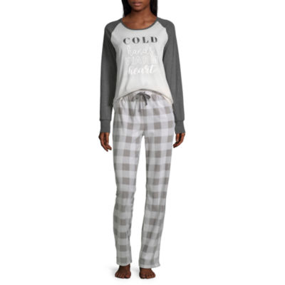 Holiday #Famjams Grey And Black Buffalo Family Womens Pant Pajama Set 2-pc. Long Sleeve