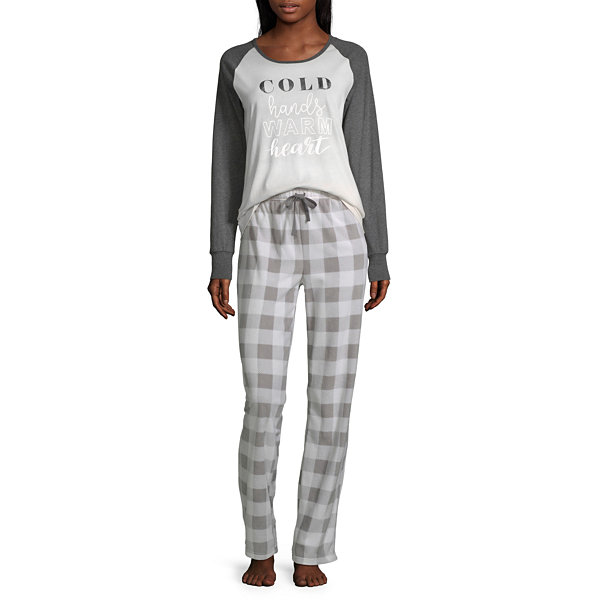 Holiday #Famjams Grey And Black Buffalo Family Womens-Average Figure Pant Pajama Set 2-pc. Long Sleeve