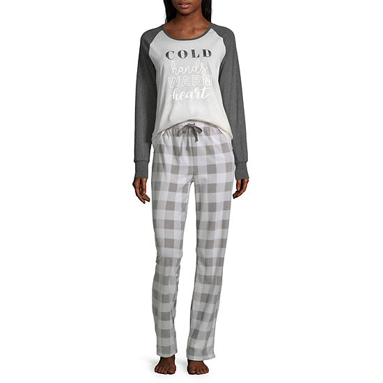Holiday #Famjams Grey And Black Buffalo Family Womens Pant Pajama Set 2-pc. Long Sleeve