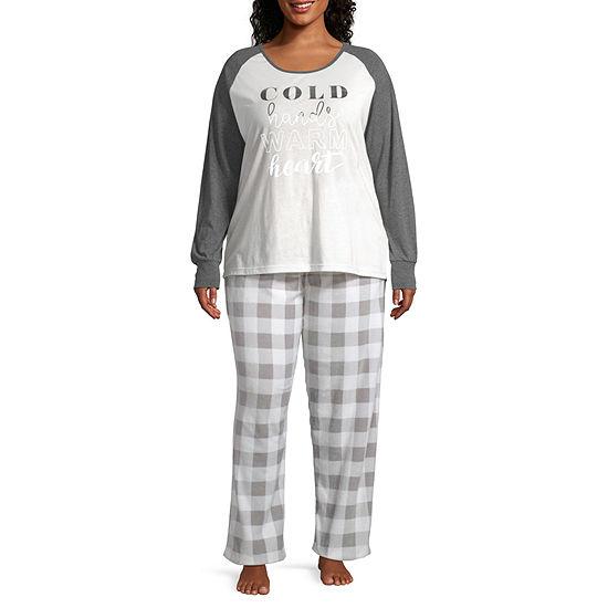 Holiday #Famjams Grey And Black Buffalo Family Womens-Plus Pant Pajama Set 2-pc. Long Sleeve