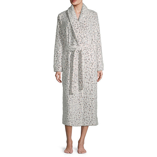 Liz Claiborne Womens Fleece Long Sleeve Long Length Robe
